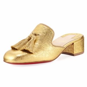 New Christian Louboutin Barry Mules Gold SZ 39.5